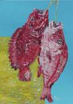Gouache: Seychellen - Rote Fische