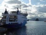 Fährschiff zwischen den Azoreninseln Faial und Pico