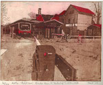 Alte Mälzerei hinter dem S-Bahnhof Lichtenrade (Zweifarbradierung 2020)