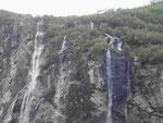 Wasserfall die 7 Schwestern im Geirangerfjord, Norwegen