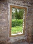 Fanêtre mixte alu-bois, intérieur chataignier