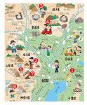 関東 観光 登山 温泉 イラストマップ