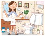 家族 家庭 トイレ掃除