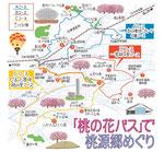 甲斐八代桃源郷桃の花バスマップ