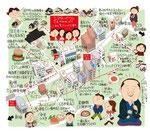 岩戸町 牛込神楽坂イラストマップ