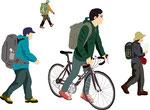 人物 行動 生活 登山客 自転車の人