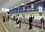 会社 オフィス 仕事 バスタ新宿 発券カウンター