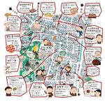 麻布十番イラストマップ