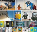muurschilderingen en ramen/wc bestickering voor film en televisie studio ZoHelder Amsterdam