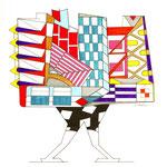 Format 20x20 cm Technique Mixte (support papier- stylos - peinture)
