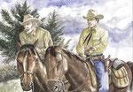 Tex con Carson. Illustrazione.