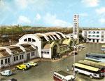 Vue de la gare de Lens dans les années 60. A Remarquer la disparition des grands pylones. (Coll. MB)