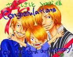 琴那様 3周年のお祝いに描いてくださったのはサンジファミリー!どうしよう!(´д`)選べない!