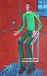 l'homme à la chemise verte, huile sur bois, 35*22