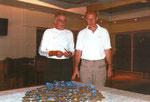Б.Дубровский и А.Андреев и медали, которые выиграли гребцы московского Динамо на Всемирной ветеранской регате. Тракай 2008