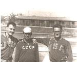 Олимпийские чемпионы в восьмёрке американцы братья Амлонги и А.Н. Николаев.