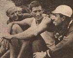 Чех Андрс, двухметровый американец Кромвелл и Борис Дубровский. Прага. 1961 год.