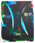 """Juca"". 32"" x 47"". Acrylic, duct tape and collaged paper on canvas. 2013"