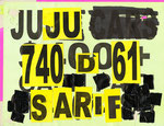 """Junk Car Sign Drawings"", 8.5"" x 11"". Mixed media on found junk car sign. 2013."
