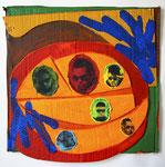 """A Looking Glass Reggaetonero Still Life"", 24"" x 24"" Mixed media on cardboard on panel, 2017."