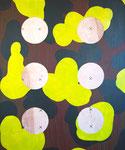 """Camo Cutouts"", 31"" x 37"" mixed media on canvas on panel. 2016"