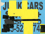 """""""Junk Car Sign Drawings"""", 8.5"""" x 11"""". Mixed media on found junk car sign. 2013."""