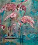 """Flamingos"" Acryl auf Leinwand 80 cm x 80 cm"