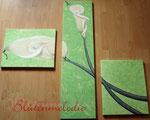 "Bild Triptychon ""Calla"" komplett 150 x150 cm / Acryl"