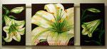 "Bild Triptychon ""Lilien"" komplett 150 x 70 cm / Acryl"