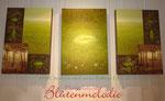 "Bild Triptychon ""Goldenes Blatt"" komplett 210 x 100 cm / Acryl"