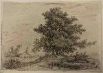 Charmier 15, Le dessinateur adossé à un tronc abattu près d'un bosquet, s.d. (BM Lyon Res Est 28211).