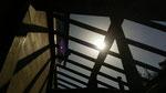 屋根材を張る前、落ちる影が美しかった。