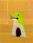 木製の隠れた狛犬は コケの緑で色分けてしていた。