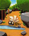 一本道の水たまりで、弾丸のようなスズメバチが 偵察しているから、しばらく動けない。