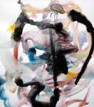 衝突 / Collision, 2010, Ink, pencil on paper 56×49.9 cm(22×19.7 in) Pigozzi Collection, France