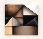 Fusion VI , 2016, alkyd, acrylic on cotton, hemp canvas,  aluminum, stainless steal, laminated lumber, plywood,97.6×108.5×6.1 cm(38.4×42.7×2.4 in),  available