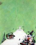 危険な食卓 Ⅲ / Dangerous Dinner Ⅲ , 2009, watercolor, oil, alkyd, pencil on canvas, 100×80.3 cm (39.4×31.6 in),  available