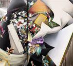 集積するリズム Ⅳ / The Accumulating Rhythm VI , 2015, oil, alkyd paint on black and white canvas, 90×100×6.3cm(38.5×42.9×2.4 in),  available