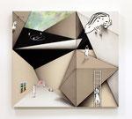 コウゾウアソビ Ⅱ / Structure play Ⅱ, 2016, oil, alkyd, acrylic on linen canvas, hemp, cotton canvas, 97.6×108.3×6 cm(38.4×42.6×2.4 in)