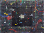 秋風のリズム / Rhythum of the Autumn Wind, 2008, punching metal, net, acrylic stick, oil, alkyd on panel,
