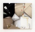 コウゾウアソビ / Structure Play, 2015, oil, alkyd, acrylic on white-hemp,  black-hemp, cotton-hemp canvas, 125x138x6.2 cm(49.2×54.3×2.4 in), private collection, Japan