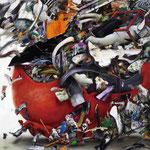 衝 / Impact , 2010, watercolor, oil, alkyd, pastel on canvas, 130.3×130.3 cm (51.3×51.3 in), private collection, Germany