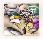集積するリズム Ⅴ / The Accumulating Rhythm Ⅴ , 2015, hemp canvas, cotton-hemp, 90x100x6.3 cm(38.4×42.7×2.4 in), private collection, Japan