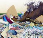大海を知る Ⅲ / To know Big Sea Ⅲ , 2011 / 2013, ink, watercolor, oil, alkyd on canvas, 141.2×162.1×6.1 cm (56×63.8×2.4 in), private collection, Japan