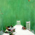 危険な食卓 / Dangerous Dinner Ⅱ , 2009, watercolor, oil, alkyd, pencil on canvas, 91×91 cm (35.8×35.8 in),  available