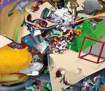 集積のリズム Ⅲ / The Accumulating Rhythm Ⅲ , 2011, ink, watercolor, oil, alkyd on canvas, 141.4×162.3×6.1 cm (55.7×68.9×2.4 in)