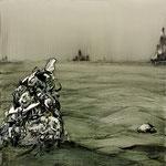 大海を知る Ⅱ / To Know Big Sea Ⅱ , 2009, watercolor, oil, alkyd on canvas, 80.8×80.8 cm (31.8×31.8 in),  available
