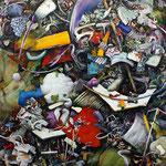 集積するリズム / Accumulation of Rhythms , silk screen, watercolor, oil, alkyd, pencil on canvas, 116.7×116.7 cm (46×46 in), private collection, USA