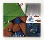 無可視場成視 / Mukashi Banashi , oil, alkyd, acrylic on hemp, cotton canvas, 97.6x108.4x6.2 cm(38.4×42.7×2.4 in), private collection, USA