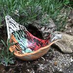 Steinzeug, Unterglasurfarben, Wachs, glasiert  27 x 18 cm  H: 18 cm